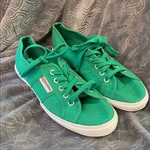 Superga cotu Classic canvas sneakers green flats